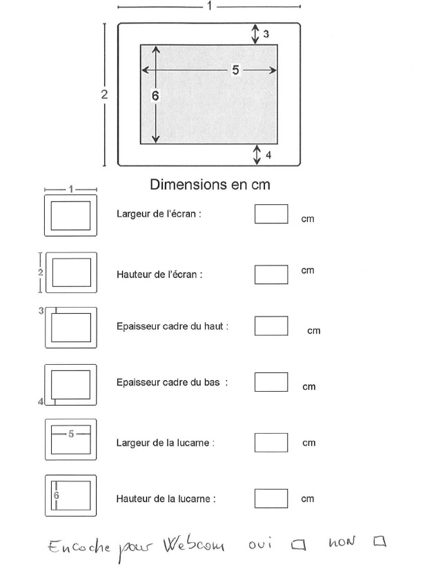 Dimensions filtre écran sur mesure