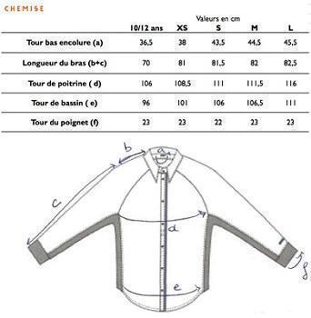 Guide des tailles Chemise