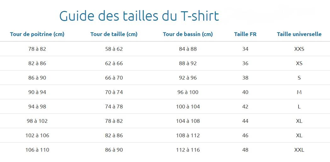Guide des tailles t-shirt adapté aux soins médicaux